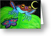 Amphibians Greeting Cards - Frog Moon and Butterfly Greeting Card by Nick Gustafson