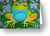 Frog Art Greeting Cards - Frog on a lily pad Greeting Card by Nick Gustafson