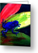 Red Leaves Painting Greeting Cards - Frog on Leaf Greeting Card by Mike Grubb