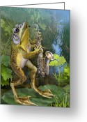 Frog Art Greeting Cards - Frog plying saxophone  Greeting Card by Gina Femrite