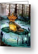 Castle Painting Greeting Cards - Frog Prince Greeting Card by Heather Calderon