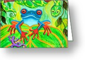 Snake Painting Greeting Cards - Frog Snake and Gecko in the Rainforest Greeting Card by Nick Gustafson