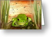 Pool Greeting Cards - Froggy Heaven Greeting Card by Holly Kempe
