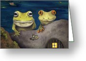 Toad Greeting Cards - Frogland Detail Greeting Card by Leah Saulnier The Painting Maniac