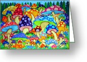 Magic Drawings Greeting Cards - Frogs and Magic Mushrooms Greeting Card by Nick Gustafson