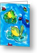 Lilly Pads Greeting Cards - Frogs Greeting Card by Elyse Bobczynski Age Five