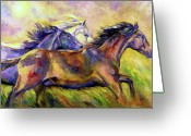 Equines Painting Greeting Cards - Frolic Greeting Card by Diane Williams