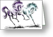 Wild Horse Drawings Greeting Cards - Frolicking - Wild Horses Print color tinted Greeting Card by Kelli Swan