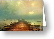 Dusk Mixed Media Greeting Cards - From The Moon To The Mist Greeting Card by Zeana Romanovna
