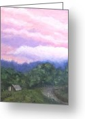 Early Pastels Greeting Cards - From the Porch Greeting Card by Denise  Cox