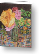 Mexican Pastels Greeting Cards - From the Rose Bed Greeting Card by Jim Barber Hove
