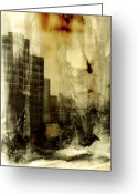 Cities Glass Art Greeting Cards - From There He lept Greeting Card by Adam Winnie