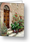 Flower Pots Greeting Cards - Front Door Greeting Card by Ellen Henneke