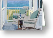 Bay Painting Greeting Cards - Front Porch Greeting Card by Christopher Mize