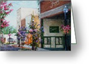 Hanging Baskets Greeting Cards - Front Street Greeting Card by Virginia Potter