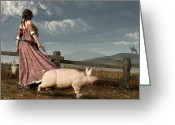 Montana Digital Art Greeting Cards - Frontier Widow Greeting Card by Daniel Eskridge