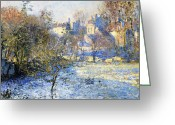 Snow On Field Greeting Cards - Frost Greeting Card by Claude Monet