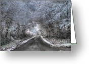 Winter Trees Greeting Cards - Frost trees and snow Greeting Card by Rob Hawkins
