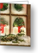 Xmas Greeting Cards - Frosted window Greeting Card by Sandra Cunningham