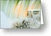 Beautiful Winter Greeting Cards - Frosty Niagara Falls  Greeting Card by Charline Xia