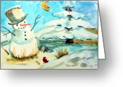 Snowscape Greeting Cards - Frosty the Snow Man Greeting Card by Mindy Newman