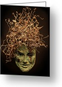 Face Reliefs Greeting Cards - Frou-Frou Greeting Card by Adam Long
