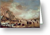 White River Scene Greeting Cards - Frozen Canal Scene  Greeting Card by Aert van der Neer