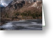 Lake Bohinj Greeting Cards - Frozen lake Greeting Card by Ivan Slosar