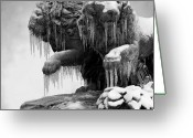 Cities Art Greeting Cards - Frozen Lions Greeting Card by Fotografias de Rodolfo Velasco