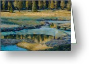 River Pastels Greeting Cards - Frozen Reflections Greeting Card by Billie Colson