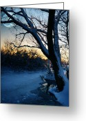 Snowy Night Digital Art Greeting Cards - Frozen River Greeting Card by  Jaroslaw Grudzinski