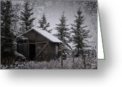 Window Prints Posters Greeting Cards - Frozen Shed Greeting Card by Larysa Luciw