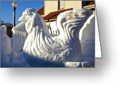 Egg Sculpture Greeting Cards - Frozen Snow Chicken Greeting Card by LeeAnn McLaneGoetz McLaneGoetzStudioLLCcom