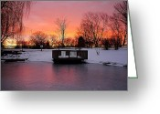 Marvelous Greeting Cards - Frozen Sunrise Greeting Card by Robert Harmon