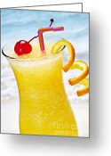 Cocktail Greeting Cards - Frozen tropical orange drink Greeting Card by Elena Elisseeva