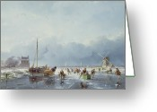White River Scene Greeting Cards - Frozen winter scene Greeting Card by Andreas Schelfhout