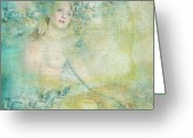 Impressionist Mixed Media Greeting Cards - Frozen02 Greeting Card by Maria Szollosi
