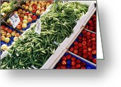 Apricots Photo Greeting Cards - Fruit and Vegetable Stand Greeting Card by Jeremy Woodhouse