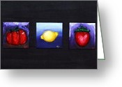 Orange Reliefs Greeting Cards - Fruit and Veggies Greeting Card by Alison  Galvan