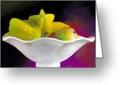 Mango Digital Art Greeting Cards - Fruit Bowl Greeting Card by Michelle Wiarda