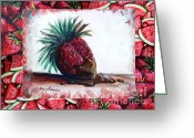 Watermelon Seed Greeting Cards - Fruit Fusion Greeting Card by Shana Rowe