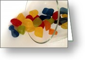 Confections Greeting Cards - Fruit Gummi Candy Greeting Card by Cheryl Young