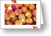 Game Piece Greeting Cards - Fruit jigsaw1 Greeting Card by Jane Rix