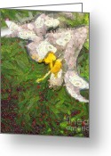 Gold Lame Painting Greeting Cards - Fruit lily Greeting Card by Odon Czintos