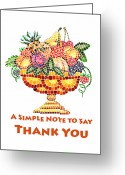 Apricot Painting Greeting Cards - Fruit Mosaic Thank You Note Greeting Card by Irina Sztukowski