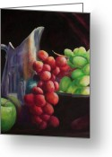 Silver Pitcher Greeting Cards - Fruit of the Vine Greeting Card by Shannon Grissom