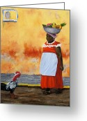 Red Dress Greeting Cards - Fruit Seller Greeting Card by Roseann Gilmore
