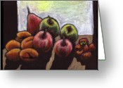 Strawberry Pastels Greeting Cards - Fruit Still-Life Greeting Card by Jennifer Shepherd
