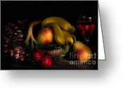 Aster  Photo Greeting Cards - Fruit Still Life With Wine Greeting Card by Ann Garrett