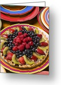 Plates Greeting Cards - Fruit tart pie Greeting Card by Garry Gay